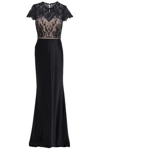 CATHERINE DEANE Lace-paneled Satin Evening Gown
